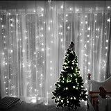 KingTop Tenda Luminosa Natale 304 LED 3M x 3M Tenda Luci Natale 8 Modalità Tenda Luminosa Esterno Bianco Freddo Tenda Di Luci Esterno Natale [Classe di efficienza energetica A+]