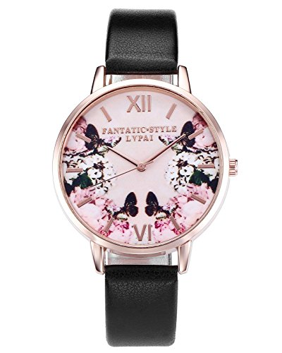 JSDDE Uhren,2er Set Modische Schmetterling Blumen Armbanduhr Basel-Stil Damen Uhr PU Lederband Rosegold Analog Quarzuhr - 5