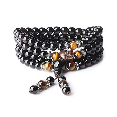 COAI® 6mm Bracelet Élastique 108 Perles Bouddhistes Mala Pierres Semi-Précieuses Onyx Noir Œil de tigre Jaune Tête de Bouddha Unisexe 76cm
