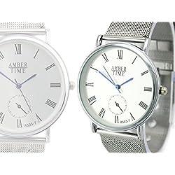 Business Armbanduhr leise Quarzwerk Uhr Silber-farbig Mesh Armband inkl. Geschenk-Box Sehr edel! GYD a00102