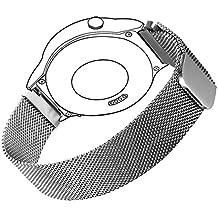 18mm Bandmax Milanesa Banda de Reloj Correa Reemplazo para Huaiwei Bandmax con Cierre Magnético de Acero Inoxidable para Huawei Watch 2/Fit(Plateado)