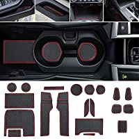 Thenice for 10th Gen Civic Door Groove Anti-Dirty Mats Cup Holder Liners 18 pcs for Honda Civic Coupe 2016 2017 2018 2019 -Full Kit,Red Trim