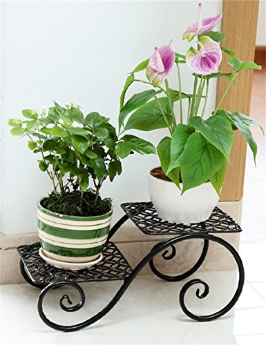 Etagère plantes porte plante Fleur Stand/Fer Nouveau Creative Balcon Salon Flower Pot Rack/Floor Style Bureau Fleur Rack porte pot de fleurs (Couleur : Noir)