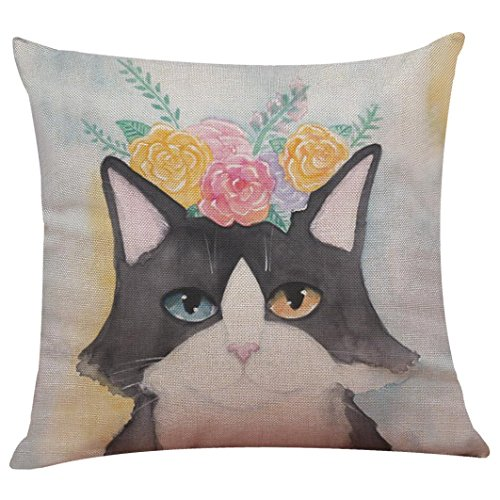 Satin-streifen-shell (Cartoon Kissenbezüge Displayschutzfolie, ubabamama Cute Cat Festival Kissen Fall Sofa Bett Kissenbezug Home Dekoration, quadratisch)