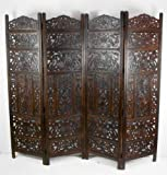 4 Panel Heavy Duty [Dark Brown] Carved Indian Screen Wooden
