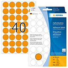 HERMA 2254 Multi-purpose labels/colour dots Ø 19 mm round luminous orange paper matt backing perforated 960 pcs