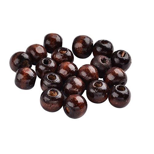nbeads 1000g braun bemalt rund Holz Perlen, bleifrei, 7~ 8x 6~ 7mm, Loch: 3mm, über 9000pcs/1000Gramm -