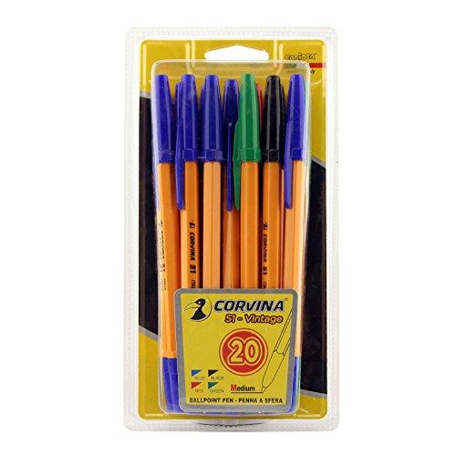 Corvina Vintage – Set 20 penne, colore: nero, blu, rosso, verde