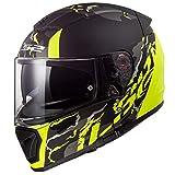 LS2 Casco da moto FF390 Breaker Fine Matte HI VIS Giallo, Noir/Giaune, M