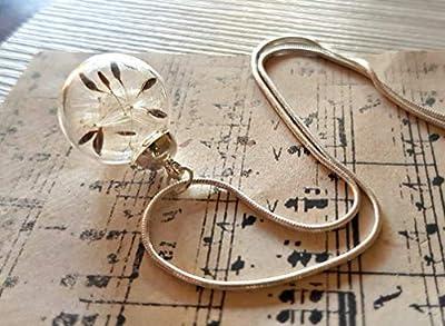 Collier de pissenlit classique Chaîne en argent sterling Boite cadeau - Collier de souhait Pendentif fleur cadeau unique pour les femmes