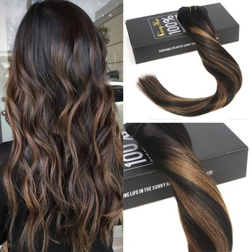 Sunny 7pcs/120g full head extension capelli veri clip 24pollice/60cm balayage ombre nero con marrone remy ricci extension clip capelli
