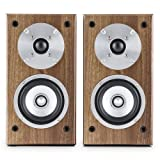 "auna Line 501 BS-WN Passive Bookshelf Speaker Pair (100W, 10cm(4"") Midrange, 2.5cm(1"") Tweeter)"