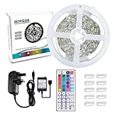 MINGER 5M 12V LED Flexible Strip Light RGB,Non-waterproof LED Tape Lights with Power Supply & RF Remote Controller (work over 32.8ft) for DIY Christmas Holiday Indoor Party Home Kitchen Car Bar Decoration