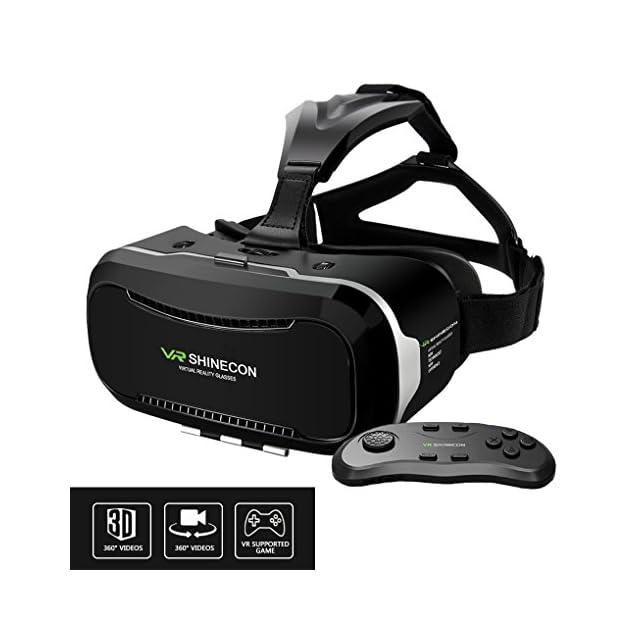Blingco Lunettes 3D VR avec télécommande, Lunettes 3D VR réglables 3Dco avec bandeau Head-mounted Affichage de la réalité virtuelle immersive, pour les Smartphones 4.0 ~ 6.0 pouces pour les films 3D, les jeux panoramiques de vidéo et d'immersion (deuxième génération)