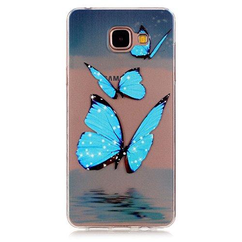Feeltech Samsung Galaxy A5 (2016)/A510F Case [Free Stylus Pen] Clear TPU Gel See Through Back Cover Scrub Silicone Bumper Anti Slip Shell for Samsung Galaxy A5 (2016)/A510F - Blue Butterfly Printed