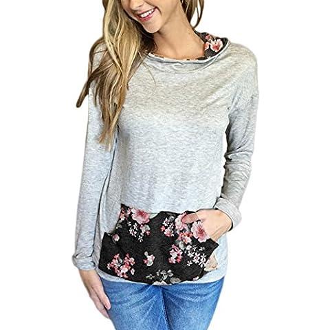 FEITONG mujeres Impresión floral Capucha Camisa de entrenamiento Bolsillo Pull-over Tops Camisa Blusa