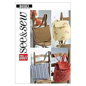 Butterick Patterns B4583 Utility Bags, Pack of 1, White