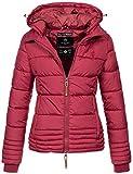 Marikoo Designer Damen Winter Jacke Steppjacke Winterjacke Stepp gesteppt B668 [B668-Sol-Bordeaux-Gr.M]