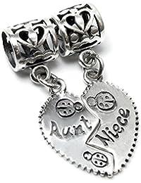 """Queenberry Breloque pendante en argent sterling avec cœur pour bracelet de type Pandora Inscription """"Aunt & Niece"""""""