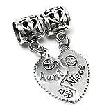 Queenberry Breloque pendante en argent sterling avec cœur pour bracelet de type Pandora Inscription Aunt & Niece