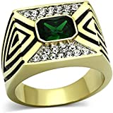Ah! Jewellery Men's 24k Gold Over Stainless Steel Emerald Cubic Zirconia Ring. 14gr Total Weight. 17mm Width. Outstanding Quality.