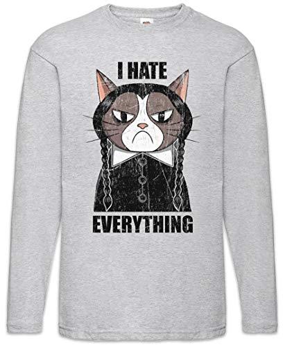 I Hate Everything Cat Herren Langarm T-Shirt Größen S - 5XL