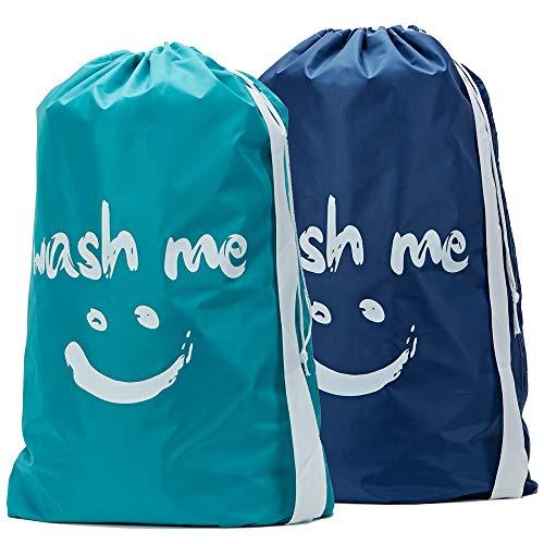 HOMEST Reise Wäschesäcke mit Kordelzug, Schultergurt für Waschmaschine, extra groß, Wäschesack, Kleidungsaufbewahrung, langlebig, Rip-Stop Nylon Blue & Sky Blue - Ripstop-kordelzug