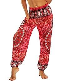 SEEU Damen Bohemian Haremshose für Yoga Strand Festivals, mit bunten Mustern