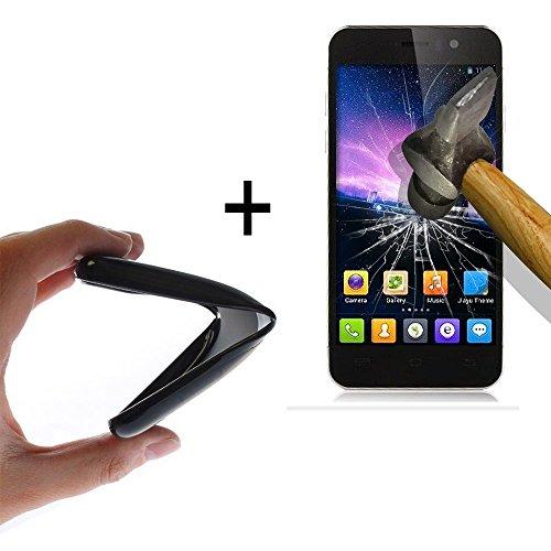 WoowCase - [ Jiayu G5 - G5S Schutzhülle Silikon Schwarz [ +1 Schutzglas ] 9H Panzerglas Bildschirm Schutzfolie, Hülle Case TPU