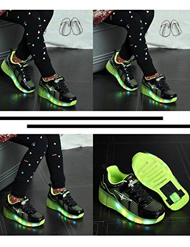 Unisex Mädchen Jungen Kinde Rädern Automodelle Jungen und Mädchen Schlittschuh Rollschuhe Tandem Skateboard Schuhe Schwarz