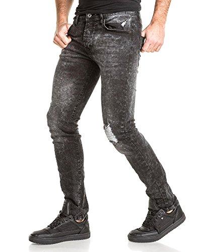 Gov Denim - Jeans gris foncé délavé déchiré au genoux Gris
