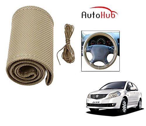 Auto Hub Premium Quality Car Steering Wheel Cover For Maruti Suzuki SX4 - Beige  available at amazon for Rs.199