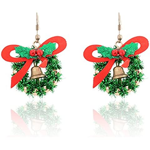 Lureme® Natale Retro Carina Stile verde Tone Lucky Present Arco with Jingle Bells Hook Earring (02004730)