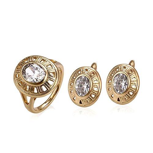 Anello + orecchini dona oro giallo 18 carati diamanti spedizione gratuita - catena 18kt