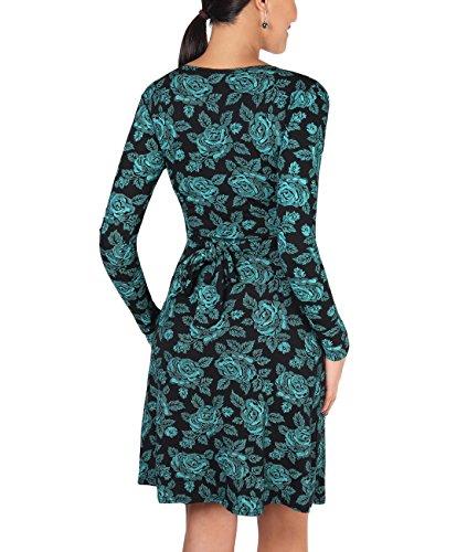 KRISP® Damen Knoten Kleid Langarm Gerafft Gebunden Petrol (5285)