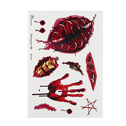1PC Tatuaje pegatina impermeable Halloween Horror herida realista sangrienta lesiones cicatrices