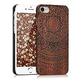 kwmobile Apple iPhone 7/8 Hülle - Handy Schutzhülle aus Holz - Cover Case Handyhülle für Apple iPhone 7/8 - Indische Sonne Design Dunkelbraun