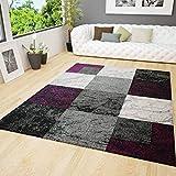 VIMODA Wohnzimmer Teppich Modern Design Schwarz Lila Grau Marmor Stein Optik Velours Kariert, Maße:200x290 cm