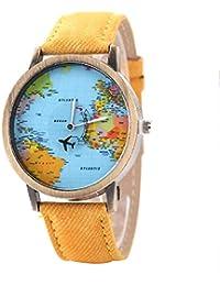 Moda mujeres hombres vintage tierra mundo mapa Reloj Denim Tela Muñeca relojes amarillo