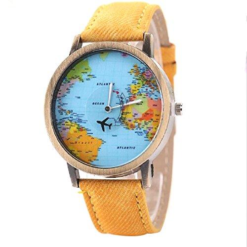 joyliveCY-Moda mujeres hombres vintage tierra mundo mapa Reloj Denim Tela Mu?eca relojes amarillo