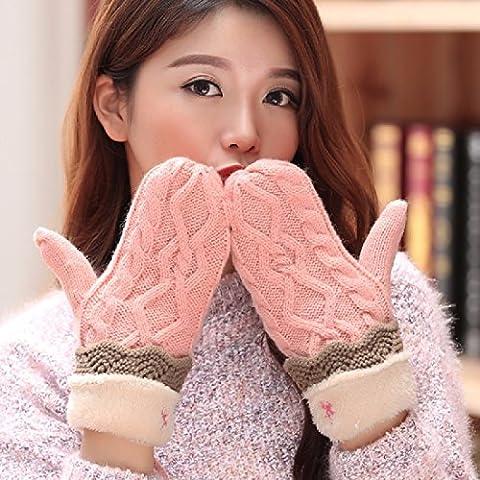 KHSKX Studenti di sesso femminile in autunno e in inverno e caldo incantevole guanti spessi ladies versione coreana fluisce all inclusive inverno a maglia guanti di lana,D