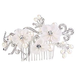 Clearine Damen Fashion Modern Kristall Party Braut Hochzeit Romantik Künstliche Perlen Haarkamm Haarschmuck Ivory-Farbe