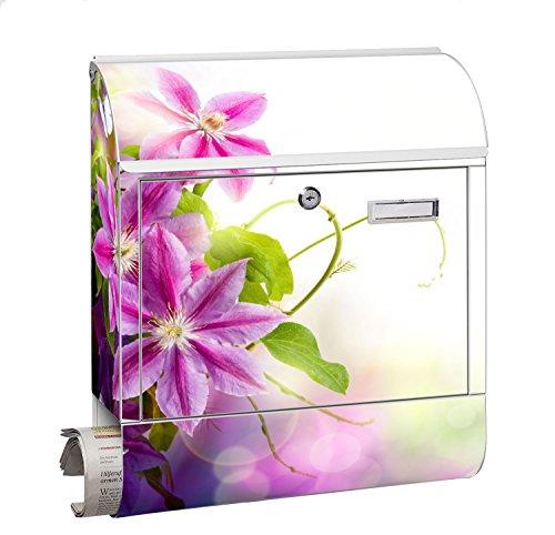 Design Motiv Briefkasten Maxi mit Zeitungsfach Zeitungsrolle für A4 Post slk shop Groß Blume Lila