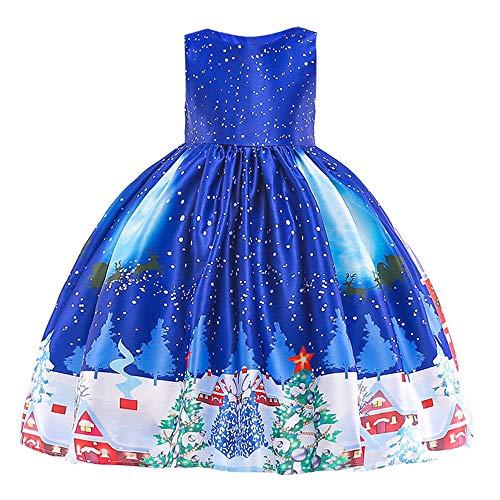 Riou Weihnachten Baby Kleidung Set Kinder Pullover Pyjama Outfits Set Familie Kleinkind Kinder Baby Mädchen Santa Print Prinzessin Kleid Partykleid Weihnachten (140, Blau ()