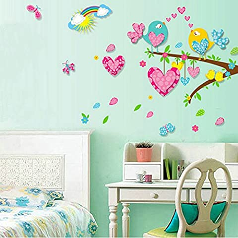 Heartshape Birds Tree Rainbow Wall Decal Home Sticker Paper Removable Living Dinning Room Bedroom Kitchen Art Picture Murals DIY Stick Girls Boys kids Nursery Baby Playroom Decoration by fashionbeautybuy1