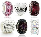 Hidden Gems - 6 x Drops Femme,Plaqué Argent, , européen charm perles verre. Couleur principale est Argent at Violet, Comprend un Charme MUM