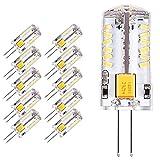 Yuecute 10 x G4 LED Leuchtmittel 2,3 W 57 SMD 3014 Energiesparlampe 12 V AC DC entspricht 20 W Halogenlampe Helligkeit geeignet für Wohnzimmer, Schlafzimmer, Büro Beleuchtung, cool white, G4, 2.30W 12.00V