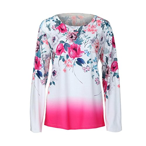 Sale Clearance Women's Blouse Sunday77 Tops Daily Floral O-Neck Pullover Print Plus Size Full Sleeve T Shirts Casual Shirt for Ladies