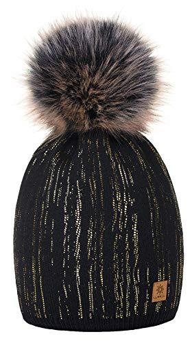 4sold Damen Wurm Winter Style Beanie Strickmütze Mütze mit Fellbommel Bommelmütze Hat Ski Snowboard Pelz Bommel Pompon Kreis Regen Crystals (Schwarzes Gold) -