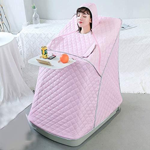 SUN HUIJIE Tragbarer Dampf-Sauna Spa Gewichtsreduktion, Detox, Entspannung zu Hause, 9-Ebene Temperatureinstellung, Original-Hocker (Color : Pink)
